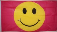 SMILEY FACE PINK - 5 X 3 FLAG